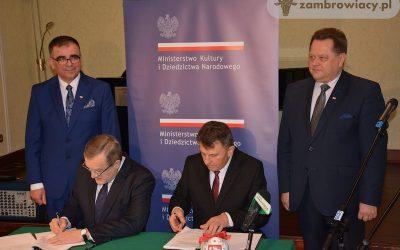 Podpisanie umowy w sprawie rozbudowy szkoły muzycznej w Zambrowie